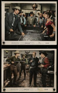 9s119 POWDER RIVER 4 color 8x10 stills '53 Rory Calhoun & sexy Corinne Calvet, craps gambling!
