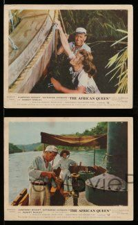 9s094 AFRICAN QUEEN 5 color English FOH LCs'53 great close up of Humphrey Bogart & Katharine Hepburn