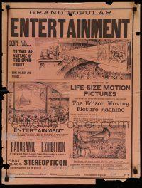 3g355 GRAND POPULAR ENTERTAINMENT 18x24 poster 1896 Edison Moving Picture Machine, motion pictures!