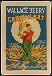 6s038 CASEY AT THE BAT linen 1sh '27 great baseball art of Wallace Beery, from classic poem, rare!