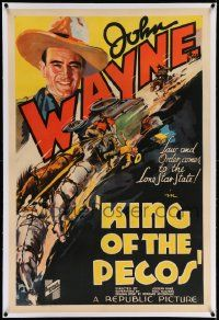 6s142 KING OF THE PECOS linen 1sh '36 John Wayne brings law & order to the Lone Star State, rare!