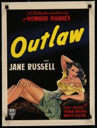 6t196 OUTLAW linen Belgian '40s wonderful art of sexy Jane Russell with gun, Howard Hughes, rare!