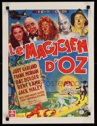 6t203 WIZARD OF OZ linen Belgian '46 wonderful different montage art of top cast, incredibly rare!