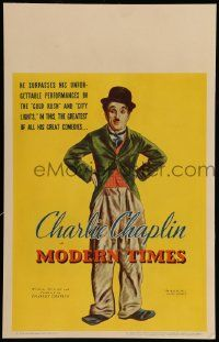 6w044 MODERN TIMES WC '36 wonderful full art of Charlie Chaplin as The Tramp with hands on hips!