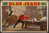 8c009 BLUE JEANS 28x42 stage poster 1890 stone litho of man about to be bisected by sawblade!