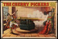 8c010 CHERRY PICKERS 28x42 stage poster 1896 great stone litho art of Afgan prisoner firing cannon!