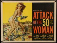 9g204 ATTACK OF THE 50 FT WOMAN 1/2sh '58 classic art of enormous Allison Hayes over highway!