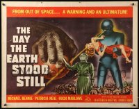 1z002 DAY THE EARTH STOOD STILL 1/2sh '51 classic art of Michael Rennie by Gort holding Neal!