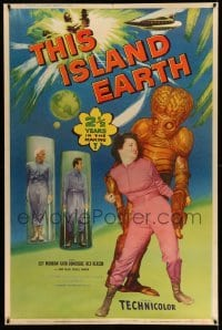 2a223 THIS ISLAND EARTH 40x60 '55 best image of alien with Domergue, Morrow & Reason, ultra rare!