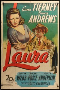 2z357 LAURA 1sh '44 stone litho of sexy Gene Tierney, Dana Andrews & Vincent Price, rare!