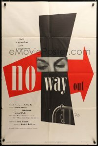 2z382 NO WAY OUT 1sh '50 wonderful different design by Paul Rand, ahead of its time, ultra rare!