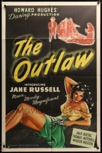 2z259 OUTLAW 1sh '43 art of sexy Jane Russell, Howard Hughes' daring production, ultra rare!