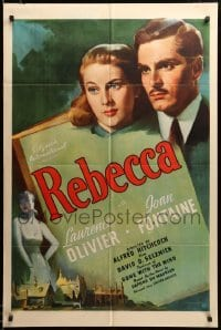 2z030 REBECCA 1sh '40 Alfred Hitchcock classic, great art of Laurence Olivier & Joan Fontaine!