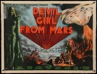 3a119 DEVIL GIRL FROM MARS linen British quad '55 Robb art of Earth menaced by female alien & robot!