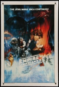 3a251 EMPIRE STRIKES BACK linen test 1sh '80 best unedited Roger Kastel art w/ added images, rare!