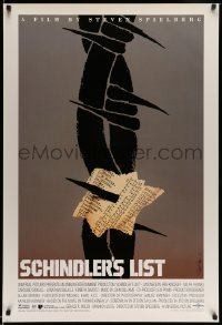 3b051 SCHINDLER'S LIST 1sh '93 Steven Spielberg, great different unused art by Saul Bass, rare!