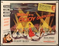 3d098 INVASION OF THE BODY SNATCHERS style B 1/2sh '56 classic spotlight style on no other poster!