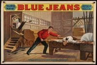 3k190 BLUE JEANS 28x42 stage poster 1890 stone litho of man about to be bisected by sawblade!