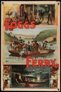3k195 FOGG'S FERRY 28x42 stage poster 1893 montage of images with ferry boat & woman shooting!