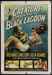 5a049 CREATURE FROM THE BLACK LAGOON linen 1sh '54 classic art of monster & Julie Adams underwater!
