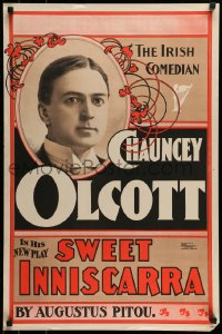 7f441 SWEET INNISCARRA 20x30 stage poster 1897 starring Chancey Olcott, The Irish Comedian!