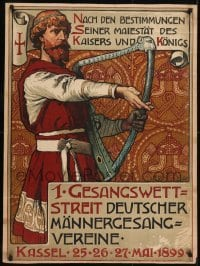 2t438 GESANGSWETTSTREIT 27x37 German special poster 1899 art of bard with harp, singing contest!