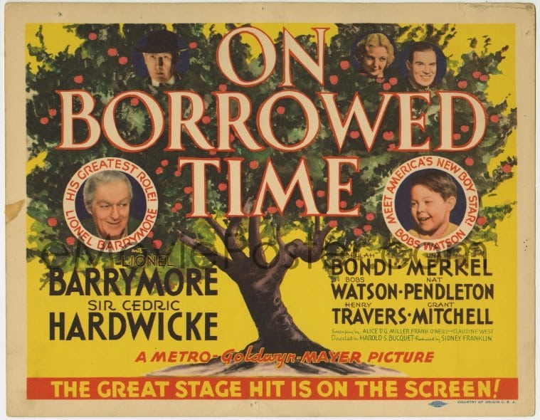 eMoviePoster.com: 3z227 ON BORROWED TIME TC 1939 Lionel Barrymore makes a  deal with Death to save his grandson!