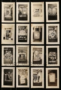 5d022 LOT OF 16 3X5 LOBBY DISPLAY PHOTOS 1930s-1940s elaborate homemade advertising!