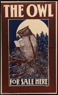 5g156 OWL 11x18 advertising poster 1890s Elisha Brown Bird art of one reading the magazine!