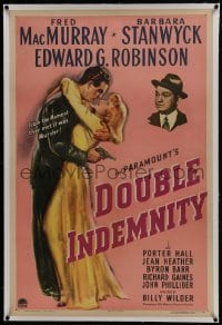 6a272 DOUBLE INDEMNITY linen 1sh 1944 Billy Wilder classic, Barbara Stanwyck, MacMurray, Robinson