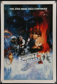 6a282 EMPIRE STRIKES BACK linen 1sh 1980 best unedited Roger Kastel art w/ added images, rare!
