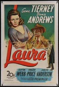 6a369 LAURA linen 1sh 1944 art of Dana Andrews between Gene Tierney & Vincent Price, classic noir!