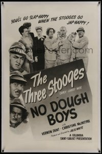 6a395 NO DOUGH BOYS linen 1sh 1944 Three Stooges w/ Curly Howard disguised as Japanese spies, rare!