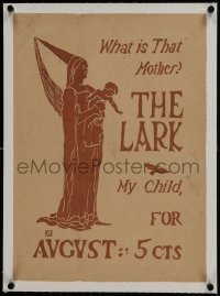 6a008 LARK linen 15x20 advertising poster 1895 Florence Lundborg & Burgess art of mother & child!