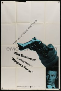 6b036 MAGNUM FORCE teaser 40x60 1973 you'll get Clint Eastwood as Dirty Harry for Christmas, rare!