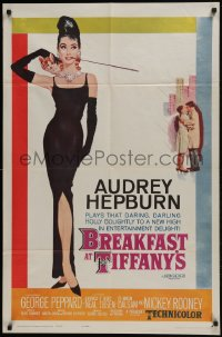 6b043 BREAKFAST AT TIFFANY'S 1sh 1961 most classic McGinnis art of sexy elegant Audrey Hepburn!