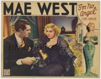 6b186 I'M NO ANGEL LC 1933 close up of sexiest Mae West trying to seduce young Cary Grant, rare!