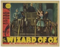 6b239 WIZARD OF OZ LC 1939 Judy Garland, Ray Bolger, Bert Lahr & Haley by Frank Morgan in balloon!