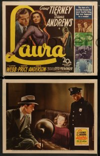 6b094 LAURA set of 8 LCs 1944 Gene Tierney, Dana Andrews, Clifton Webb, Vincent Price, Preminger