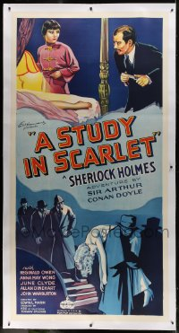 6c050 STUDY IN SCARLET linen 3sh 1933 Reginald Owen as Sherlock Holmes, Anna May Wong, ultra rare!