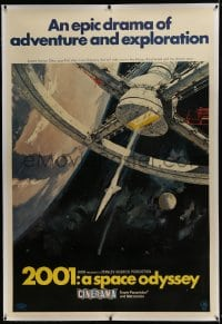 6c016 2001: A SPACE ODYSSEY linen Cinerma 40x60 1968 Kubrick, McCall space wheel art, ultra rare!