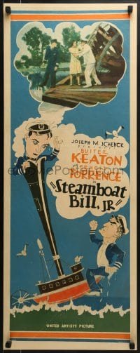 6c132 STEAMBOAT BILL JR insert 1928 different art & inset photo of Buster Keaton, ultra rare!