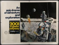 6c018 2001: A SPACE ODYSSEY linen Cinerama subway poster 1968 Kubrick, art of astronauts by McCall!
