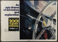 6c008 2001: A SPACE ODYSSEY Cinerama subway poster 1968 Kubrick, art of space wheel by Bob McCall!