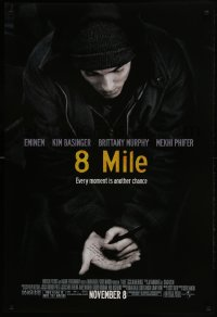 6r012 8 MILE advance DS 1sh 2002 super close up of Eminem, Curtis Hanson, Detroit, rap music!
