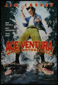 6r016 ACE VENTURA WHEN NATURE CALLS teaser 1sh 1995 wacky Jim Carrey on crocodiles by John Alvin!