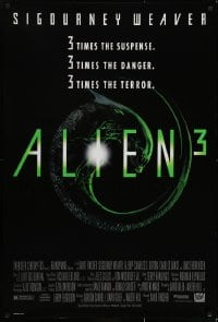 6r022 ALIEN 3 1sh 1992 Sigourney Weaver, 3 times the danger, 3 times the terror!
