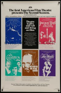 6r031 AMERICAN FILM THEATRE SECOND SEASON 1sh 1974 Galileo, Jacques Brel, film series!