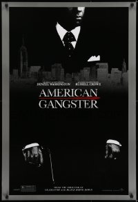 6r032 AMERICAN GANGSTER teaser DS 1sh 2007 c/u of Denzel Washington with gun, Ridley Scott directed!