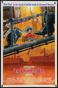 6r034 AMERICAN TAIL style A 1sh 1986 Steven Spielberg, Don Bluth, art of Fievel the mouse by Struzan